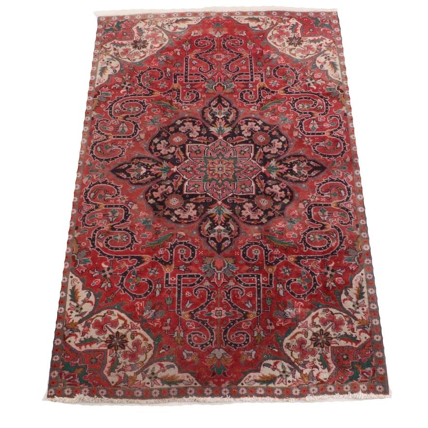 Hand-Knotted Persian Mashhad Wool Rug