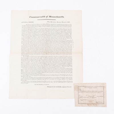 Massachusetts Militia Broadside with Declaration by William H. Sumner