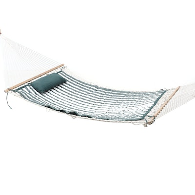 Garden Treasures Classics Cushioned Rope Hammock with Pillow, Contemporary