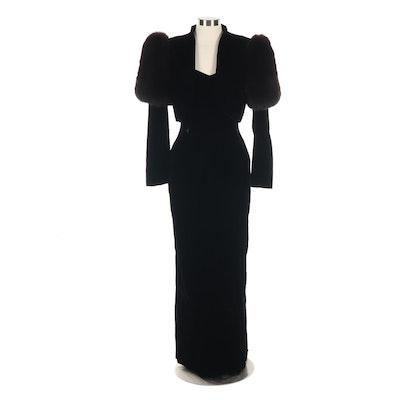 A.J. Bari Black Velvet Strapless Gown and Bolero Jacket with Fox Fur Trim