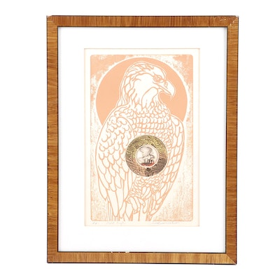"Martin Barooshian Artist's Proof Woodcut ""Bald Eagle"""