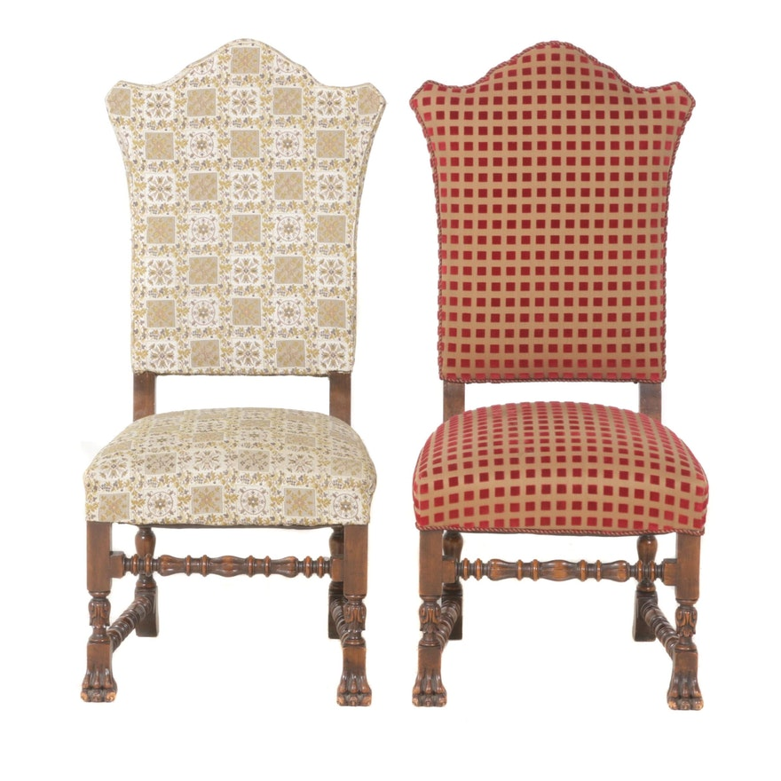Pair of Renaissance Style Custom-Upholstered Walnut-Stained Side Chairs