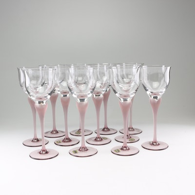 "Mikasa ""Sea Mist Amethyst"" Frosted Stem Wine Glasses, 1980s"