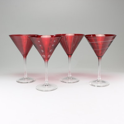 "Mikasa ""Cheers"" Ruby Martini Glasses"