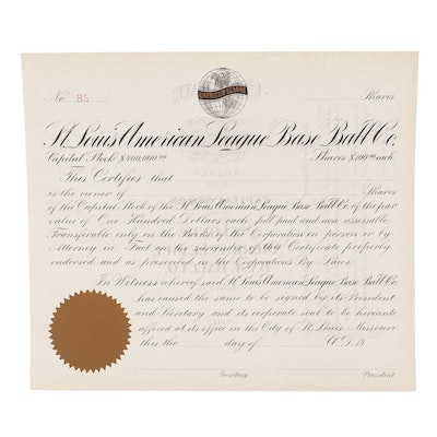 St. Louis Browns American League Baseball Company Stock Certificate