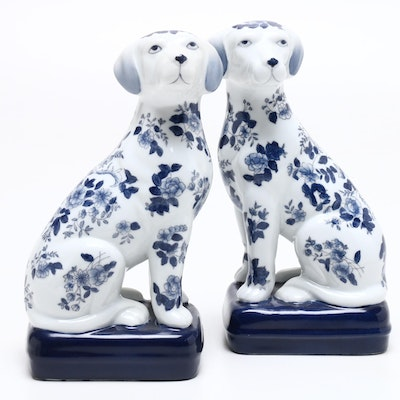 Hand-Painted Porcelain Dog Figurines, Mid to Late 20th Century