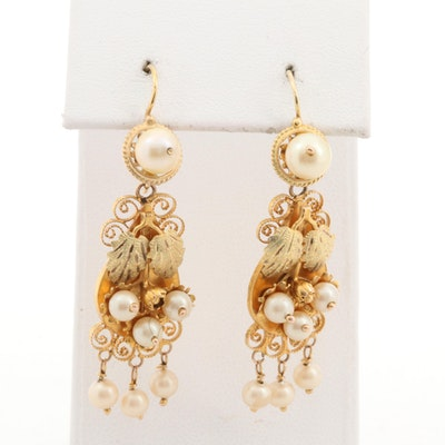 Cultured Pearl Dangle Earrings with 10K Yellow Gold Ear Wire