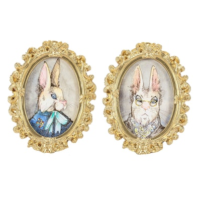 Rabbit Anthropomorphic Portrait Watercolor Paintings