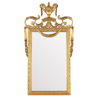 Reproduction Neoclassical Style Gilt FInished Composition Mirror, Contemporary
