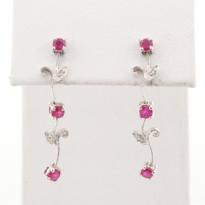 10K White Gold Ruby and Diamond Earrings in Floral Motif