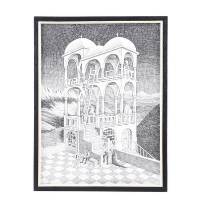 "21st Century Lithograph after M.C. Escher ""Belvedere"""