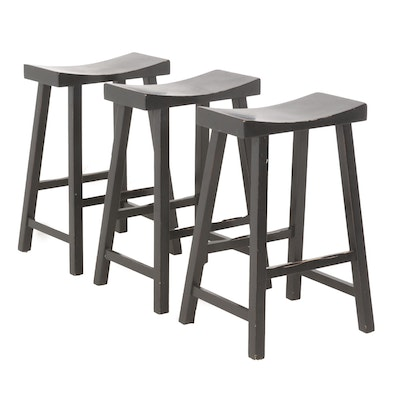 Pottery Barn Black Tibetan Style Stools, Set of Three