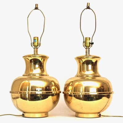 Brass Urn Form Table Lamps