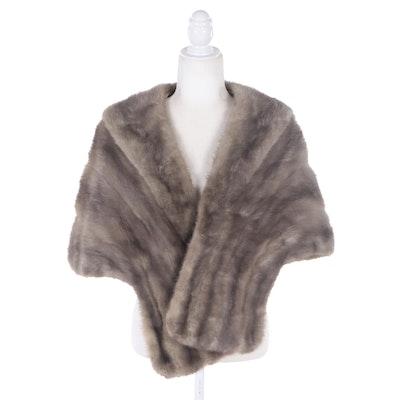 Gray Mink Fur Shawl, Vintage
