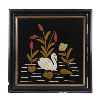 Folk Art Embroidered Stumpwork Panel of a Swan, Antique