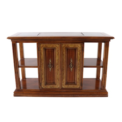 American by Martinsville Transitional Wooden Side Cabinet with Shelves