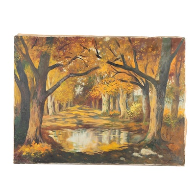 Autumn Forest Landscape Oil Painting
