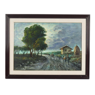 20th Century Pastoral Landscape Oil Painting