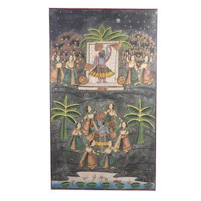 Antique Indian Pichhwai Gouache Painting on Cloth