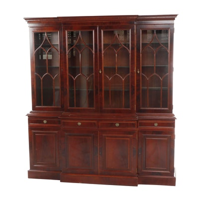 Federal Style Breakfront Mahogany China Cabinet, Late 20th Century