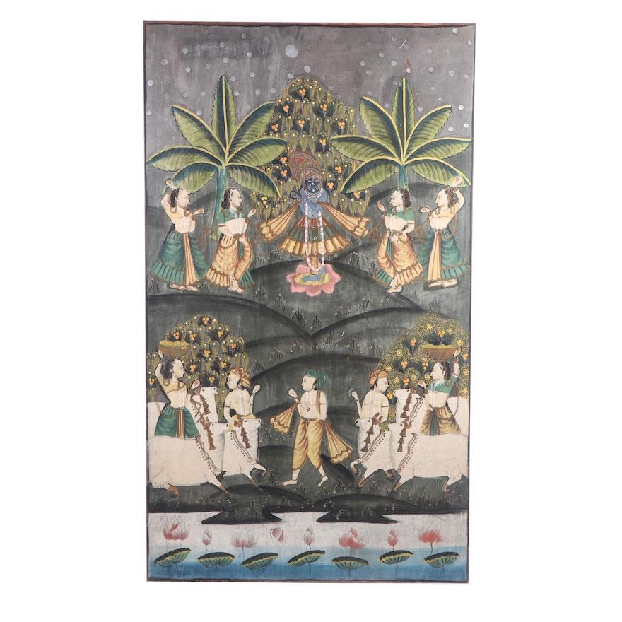 Antique Indian Pichhwai Gouache Painting on Cloth