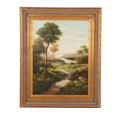 Humphrey Pastoral Landscape with Sheep Oil Painting