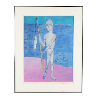 "Frank Dininno Lithograph ""Boy with Fish"""