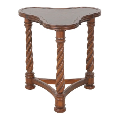 Triangular Accent Table with Metallic Scrollwork Top by Mirador
