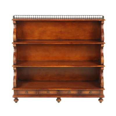 Theodore Alexander Walnut and Leather Bookcase