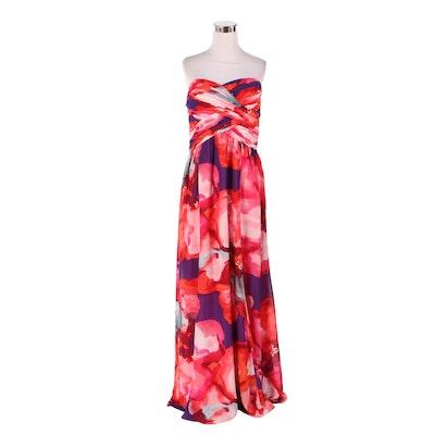 Lauren Ralph Lauren Evening Watercolor Floral Strapless Dress