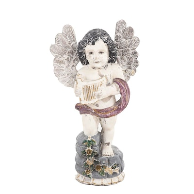 French Baroque Style Hand-Carved Polychrome Wooden Cherub
