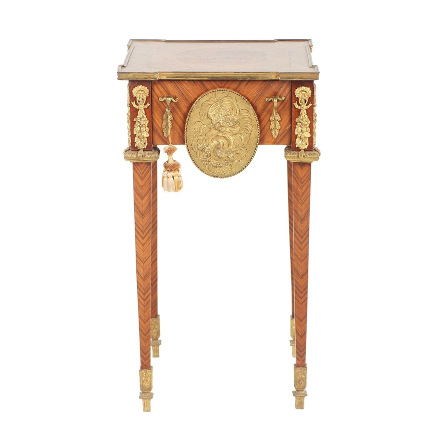 French Louis XVI Style Marquetry End Table with Marble Inserts