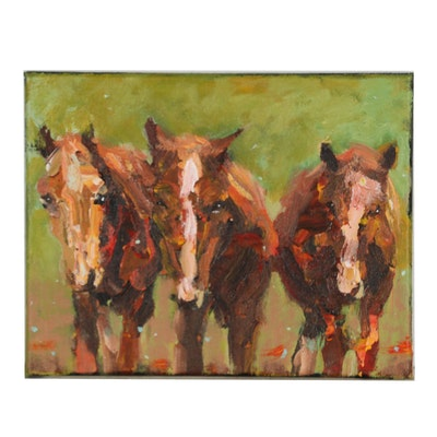 Elle Raines Acrylic Painting of Horses