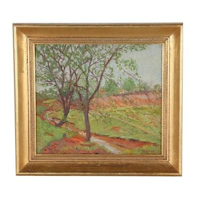 Morris Shokler Impressionist Oil Painting of Rural Landscape