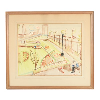 Marjory Hartmann Mid 20th Century Watercolor & Gouache Painting