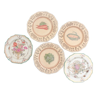 Wong Lee 1895 Painted Porcelain Plates Late 20th Century