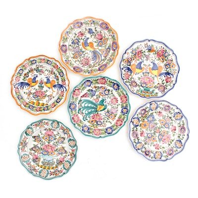 Hand-Painted Continental Style Decorative Plates, Mid to Late 20th Century