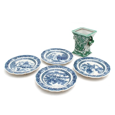 Chinese Export Porcelain Planter and Plates