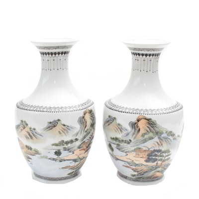 Taiwanese Painted Porcelain Vases