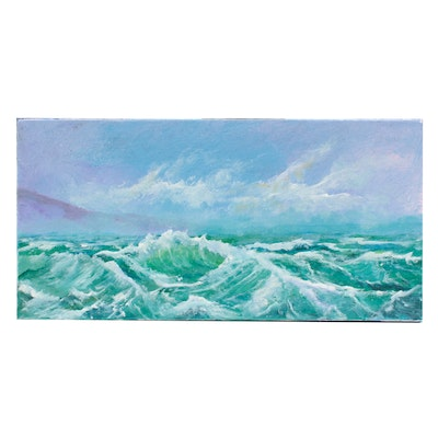 Robert Riddle Acrylic Painting of Crashing Waves
