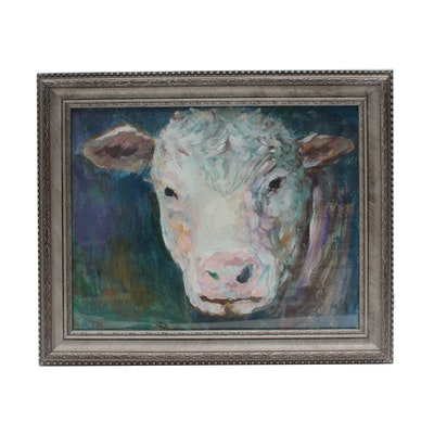Robert Riddle Acrylic Painting of Cow