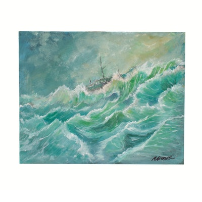 "Robert Riddle Acrylic Painting ""If the Sea Intended to Swallow the Boat"""