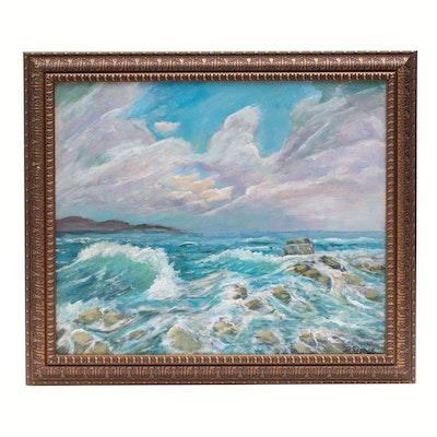 "Robert Riddle Acrylic Painting ""Wind and Waves"""