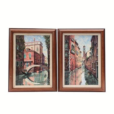 Oil Paintings of European Street Scenes, Mid-to-Late 20th Century
