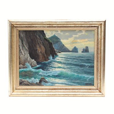 Oil Painting of Coastal Scene, Mid-to-Late 20th Century