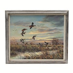 "Hugh Monahan Oil Painting ""Black Ducks at Eventime"", Mid 20th Century"