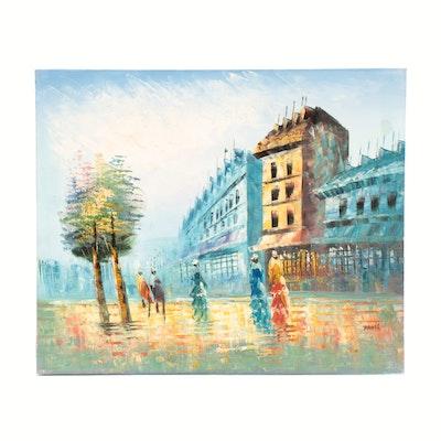 Davis Oil Painting of Street Scene