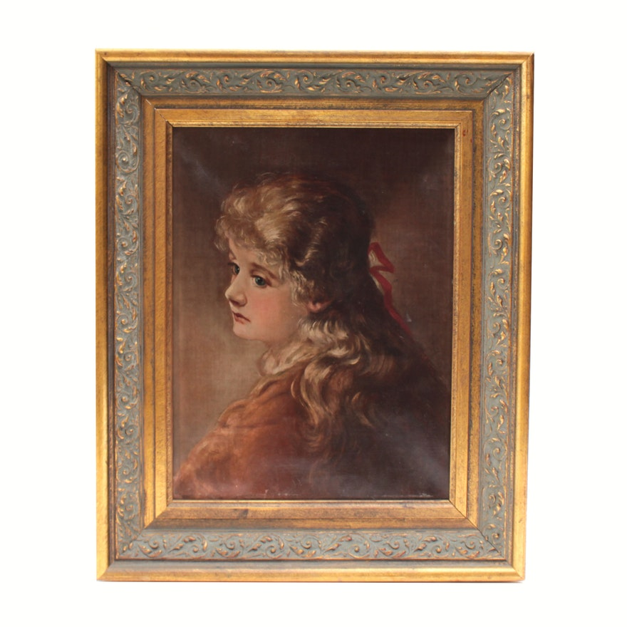 Oil Portrait of Woman, Late 19th Century
