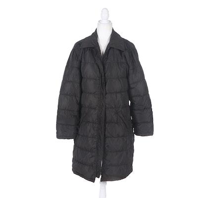 Prada Milano Black Zipper-Front Puffer Coat