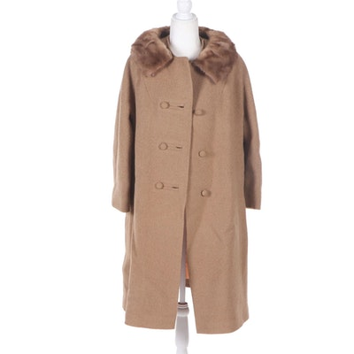 Stevens Hockanum Wool Coat with Mink Fur Collar, Vintage